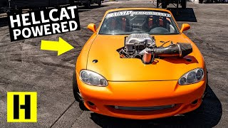 Dodge Hellcat Powered Mazda Miata Can do 6th Gear Burnouts!!