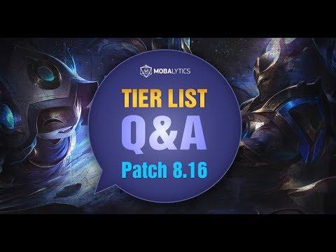 League of Legends Mobalytics Patch 8 16 Tier List Q&A