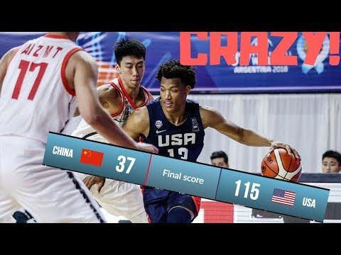 屠杀!U17美国男篮净胜中国78分集锦| 最大输球分差| 18.7.2