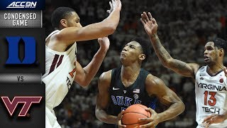 Duke vs. Virginia Tech Condensed Game   2018-19 ACC Basketball