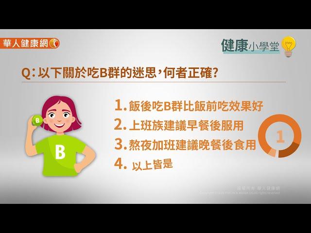 【影音版】B群應該飯前吃?還是飯後吃比較好?