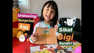 Alin daily activity || unboxing surprise egg || Tutorial sikat gigi