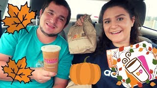 WE TRY EVERY SINGLE ITEM ON THE DUNKIN DONUTS FALL MENU | 2018