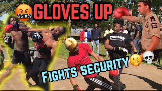 EXTREME PUT THE GLOVES ON😱🤬 PUBLIC BOXING🥊 - (FIGHTING SECURITY , 3 KO'S)😱