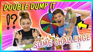 DOUBLE DUMP IT MYSTERY WHEEL of SLIME CHALLENGE | Kayla Davis