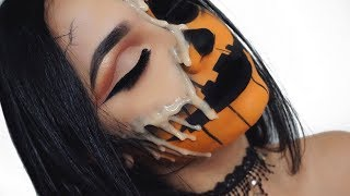 Halloween Melting 3D Pumpkin Makeup Tutorial
