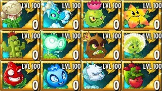 All Premium Plants LEVEL 100 Power-Up! in Plants vs Zombies 2