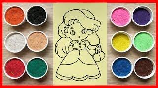 Đồ chơi TÔ MÀU TRANH CÁT công chúa búp bê tóc dài Colored Sand Painting Toys (Chim Xinh)