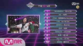 What are the TOP10 Songs in 3rd week of November? M COUNTDOWN 181115 EP.596