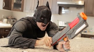 Nerf War: BATMAN vs JOKER!  Superhero Battle!