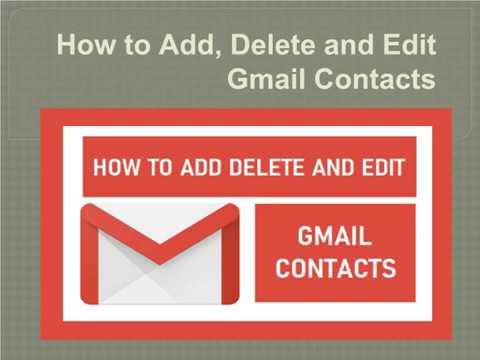 How to Add, Delete and Edit Gmail Contacts?