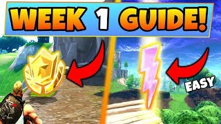 Fortnite WEEK 1 CHALLENGES GUIDE! – LIGHTNING BOLTS LOCATIONS, Treasure MAP (Battle Royale Season 5)