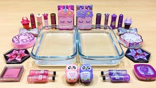 PURPLE vs PINK ! Mixing Makeup Eyeshadow into Clear Slime! Special Series #78 Satisfying Slime Video