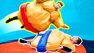 THE GYMNASTICS CHALLENGE in GIANT SUMO SUITS! Funny Fantastic Gymnastics Battle Challenge