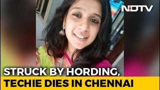 Techie hit by tanker as hoarding falls on her, dies..
