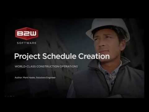 B2W Estimate - Project Schedule Creation