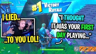 I pretended to be the biggest FAKE NOOB and CARRIED kids to a WIN on Fortnite...