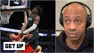 'It's the dunk of the year!' - JWill reacts to Anthony Edwards posterizing Yuta Watanabe | Get Up