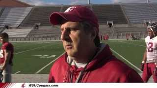 WSU Football: Mike Leach after practice.  April 9