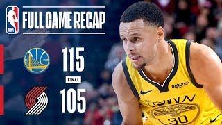 Full Game Recap: Warriors vs Trail Blazers   Steph & Klay Lead Warriors In Portland