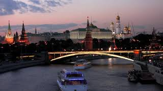 View at Moscow Kremlin from Moskva River at night time lapse