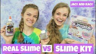 Real Slime vs Slime Kit Challenge ~ Jacy and Kacy