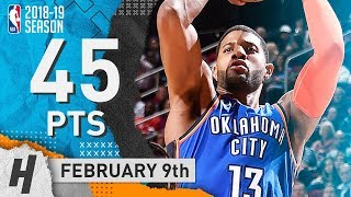 Paul George EPIC Full Highlights Thunder vs Rockets 2019.02.09 - 45 Points, 11 Reb!