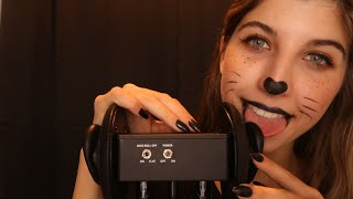 Black Kitty Ear Licking for Tingles & Relaxation 🖤🐱 HALLOWEEN EDITION  ~