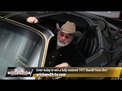 Hollywood legend Burt Reynolds and Dream Giveaway Garage want you to win this Bandit Trans Am, personally picked by Mr. Reynolds to celebrate 40 years of everybody's favorite car-chase film, Smokey and the Bandit. Do you want to double your tickets? Go to www.dreamgiveaway.com/dg/bandit?promo=PL0617Z before this offer expires.