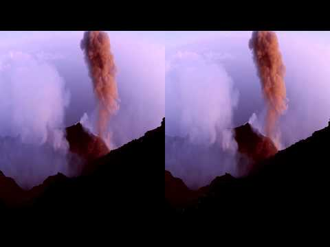 Typical Ash Eruption, Volcano Stromboli 3D - Hyper-Stereo 65 cm