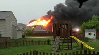 House fire caused by lightning, Brownsburg Indiana 4-28-17