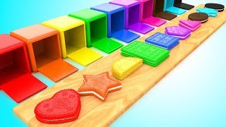 Shapes & Colors for Children with Color Cream Biscuits Shapes 3D Kids Baby Learning Educational