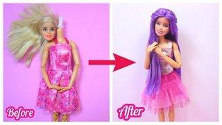 Biến hóa thay đổi màu tóc và trang điểm búp bê / Barbie Custom Doll Makeover #1 / Ami DIY