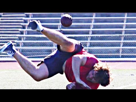 People Try To Catch Passes From An NFL Quarterback