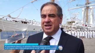 El presidente Macri y el ministro Martínez despidieron a la Fragata ARA Libertad, que iniciará su 46° viaje de instrucción de guardiamarinas