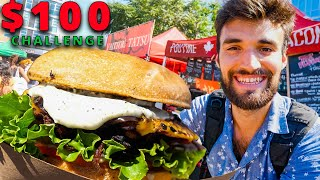 $100 STREET FOOD CHALLENGE in NYC!