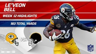 Le'Veon Bell's Big Game w/ 183 Total Yards vs. Green Bay! | Packers vs. Steelers | Wk 12 Player HLs