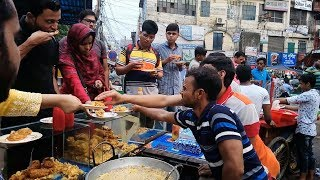 Delicious Best street food chicken legs @ Tk 40 per piece Hot snacks Bengali people Enjoying Eating