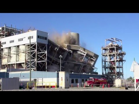 Duke Energy Sunday imploded one of three boiler units at the retired coal-fired L.V. Sutton Plant in Wilmington, N.C.