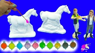 Painting Plaster Rainbow Fantasy + Appaloosa Horses For 2 Schleich Girls - Craft DIY Video