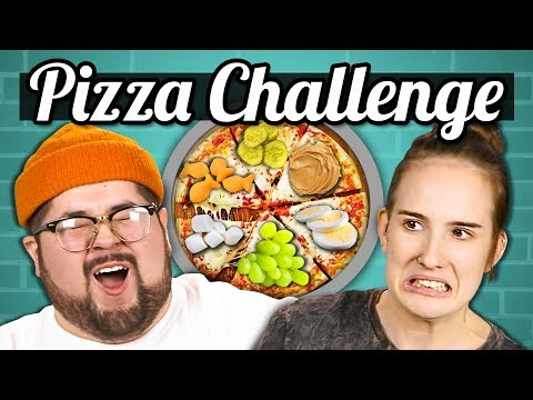 PIZZA CHALLENGE!!! (Gross Toppings)   College Kids Vs. Food