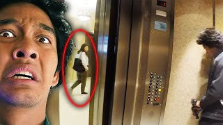 PLAYING THE ELEVATOR GAME in HAUNTED BUILDING (SHE GOT ON!!)