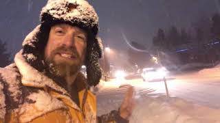 INSANE snowfall rates with blizzard warning about to start, Mammoth Lakes, CA!