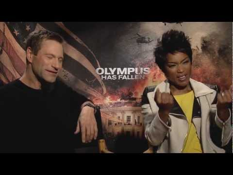 'Olympus Has Fallen' Asleep Aaron Eckhart and Angela Bassett Interview (Snoozer Warning)