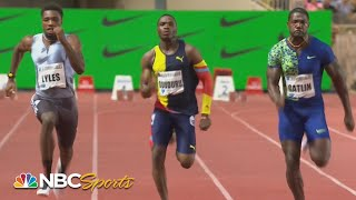 Lyles and Gatlin finish 0.01 and 15 years apart in men's Diamond League 100m | NBC Sports