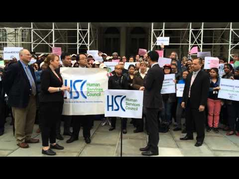 Councilmember Ydanis Rodriguez at HSC 5and5 COLA Rally