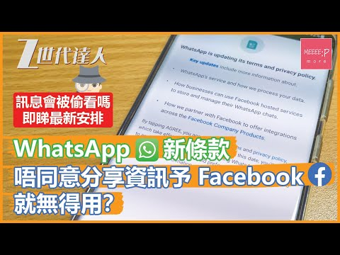 WhatsApp新條款 唔同意分享資訊予Facebook就無得用? 訊息會被偷看嗎?即睇最新安排