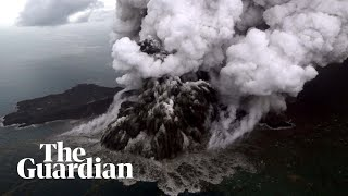 Anak Krakatau volcano erupts before and after tsunami