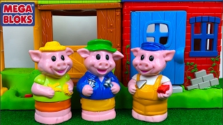 EL CUENTO DE LOS TRES CERDITOS Y EL LOBO -THE THREE LITTLE PIGS STORY- CON SONIDOS DE  MEGA BLOKS
