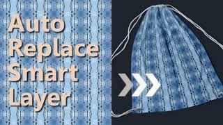 Adobe Photoshop Script--Auto Replace Smart Content of Fabric Drawstring Bag Mockup